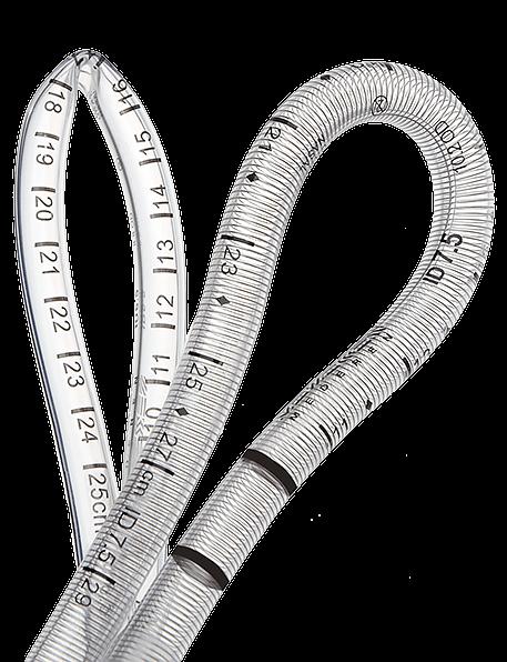 Армирование металлической спиралью поддерживает свободную проходимость дыхательных путей при сложной оральной или назальной интубации
